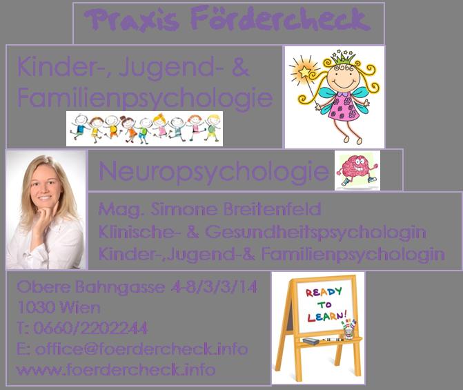 Praxis Fördercheck –  Kinder-, Jugend- & Familienpsychologie / Neuropsychologie – Mag. Simone Breitenfeld